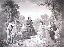Engraving showing the burial of Latane